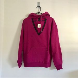 Sweaters - Plum colored Lace V-neck Hoodie